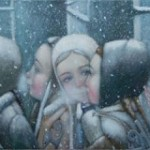 Detail of painting. Winter tenderness in painting by Russian artist Natalia Syuzeva