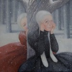 Two girls playing Hide-and-seek. Winter tenderness in painting by Penza based artist Natalia Syuzeva