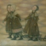 Walking with sledges. Winter tenderness in painting by Russian artist Natalia Syuzeva
