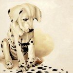 Dalmatian Puppy. Oil on canvas, 2013. Painting by Italian artist Tina Bruno