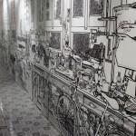 Black marker Drawings on walls by British artist Charlotte Mann
