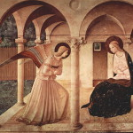 "Original version of ""The Annunciation"" (ca.1450), an Early Renaissance fresco by Italian Renaissance painter Fra Angelico (1395 – 1455)"