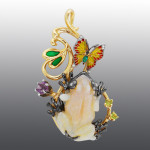 pendant. Stones diamond grit, Emerald, Peridot, Amethyst, Opal, enamel. Material Gold 585