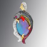 pendant. Stones diamond grit, Rubin, Opal, enamel. Material Gold 585