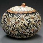Camomile field. Pumpkin carving by American artist Marilyn Sunderland