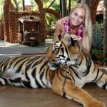 With a chained tiger, Teresa Fajksova