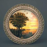 Sunset, Russian enamel painting