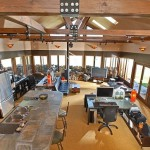 Mission control. The central hub including kitchen at Silo House in the Adirondack mountains