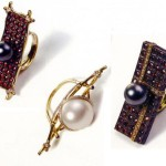 Ring series 'tea ceremony', gold, silver, diamonds, rubies and pearls