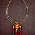 Necklace 'wind Festival', gold, diamonds, Topaz, Chinese silk
