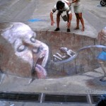 Something scary. Weird worlds of wonder in 3D street painting by Argentinian artist Eduardo Relero