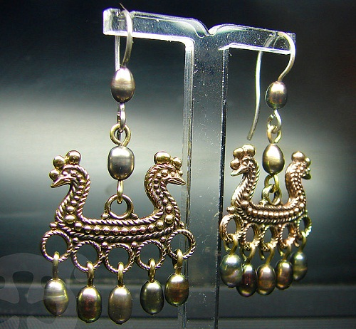 Earrings based on archaeological finds, found in the Novgorod oblast of Russia