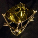 Ring from set 'tea ceremony', gold, cut diamonds and prasiolite, 2009