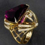 Spider ring, gold, cut diamonds and Amethyst, 2009