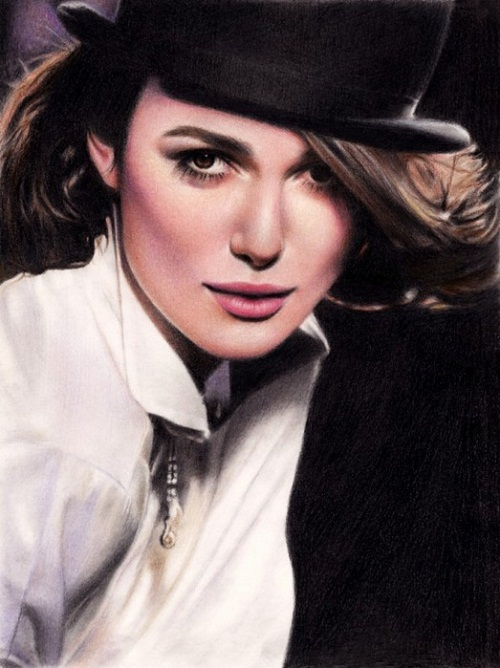 A flare of Keira. Pencil portrait by Armenian self-taught artist Sarkis Sarkissian