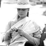 Icon of style, British actress Audrey Hepburn, knitting