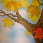 Autumn. Painting on silk by Russian artist of applied art Xenia (KENAZ)
