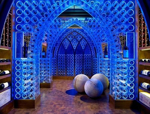 Elegant wine cellar of glass and light