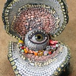Amazing shell with a pearl-eye inside. Jewelry sculpture covered with bead. American artist jeweler Betsy Youngquist