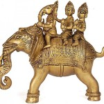 Riding Elephant with His Consorts Buddhi and Siddhi, Ganesha