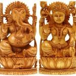 Goddess Lakshmi and Lord Ganesha. Kadamba Wood Sculpture from Jaipur