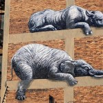 Detail of graffiti art. House in Johannesburg, in South Africa. Street art by Belgian graffiti artist Roa