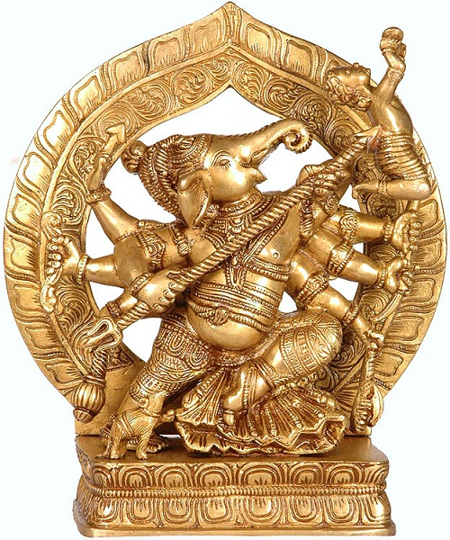 In his iconography Ganesha carries various weapons including a battle-axe but is not known to have ever used them