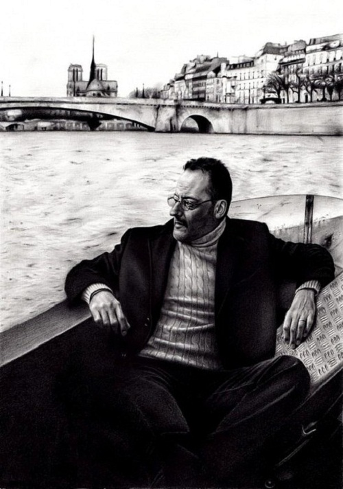 Jean Reno. Pencil portrait by Armenian self-taught artist Sarkis Sarkissian