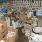 material for interior decoration – boxes with broken porcelain