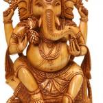 Wood Sculpture. Ganesha in Indian art
