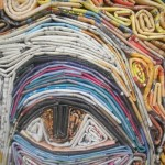 Closeup of Magazine mosaic by Russian artist Vasiliy Kolesnik