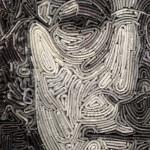 John Lennon portrait, closeup. Magazine mosaic by Russian artist Vasiliy Kolesnik