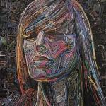 Female portrait. Magazine mosaic by Russian artist Vasiliy Kolesnik