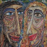 Recycled painting, or old magazine mosaic by Russian artist Vasiliy Kolesnik