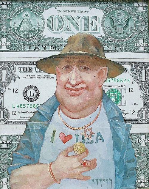 Misha from Texas and Golden pendant of grandaddy Shlema. Money power in painting by Ukrainian artist Oleg Demko