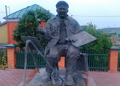 Monument to the painter Arkady Plastov in Prislonikha, Ulyanovsk region, Russia