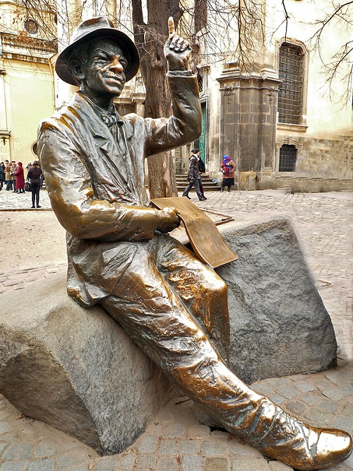 Monument to the painter Nikifor Krynicki, Lvov, Ukraine