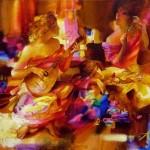 Three muses. Painting by Russian artist Evgeny Kuznetsov