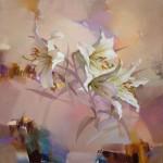 White lilacs. Painting by Russian artist Evgeny Kuznetsov