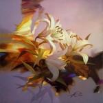 Flowers. Painting by Russian artist Evgeny Kuznetsov