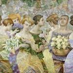 Bouquets. Painting by Russian artist Evgeny Kuznetsov
