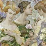 Bouquets, closeup. Painting by Russian artist Evgeny Kuznetsov