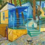 Colorful street. Painting by Russian artist Evgeny Kuznetsov