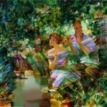 In the garden. Painting by Russian artist Evgeny Kuznetsov