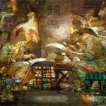 Secret contract. Painting by Russian artist Evgeny Kuznetsov
