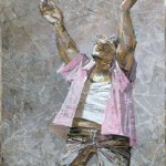 Fly, pigeon. Painting by Russian artist Evgeny Kuznetsov
