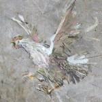 Flying hen. Painting by Russian artist Evgeny Kuznetsov