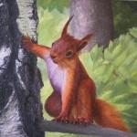 Squirrel. Painting by Russian artist Vasiliy Kolesnik