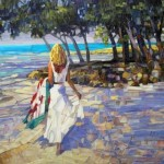 At the seaside. Painting by Russian artist Vasiliy Kolesnik