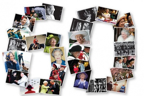 60 years. Photo collage of photographs of the Queen